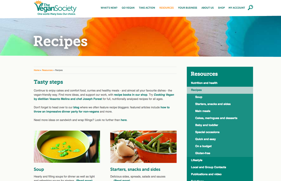 Vegan Society: Recipes