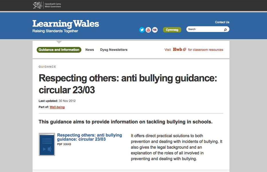 Learning Wales - Bullying