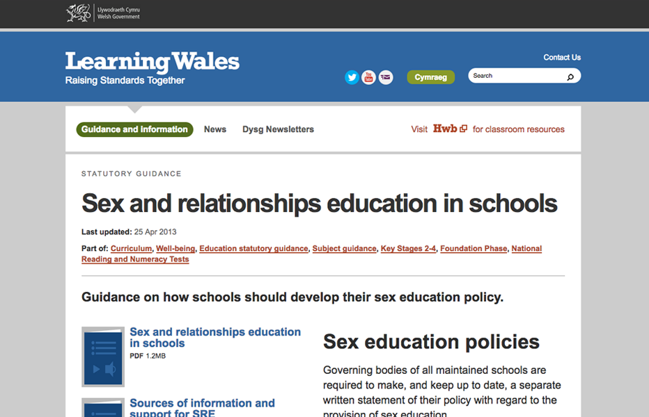 Learning Wales - Sex and Relationships